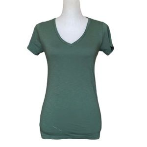 Marine Layer V-Neck Tee in Spruce Green